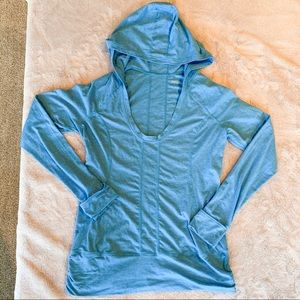 Zella Hooded Long Sleeve Workout Top Blue Large